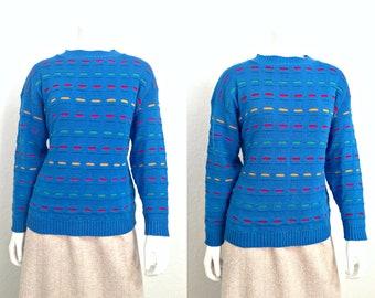 Vintage Sweater / Retro Sweater / Blue Sweater / 80s Sweater / 1980s Sweater / Womens Sweater / Petite Sweater / Small Sweater