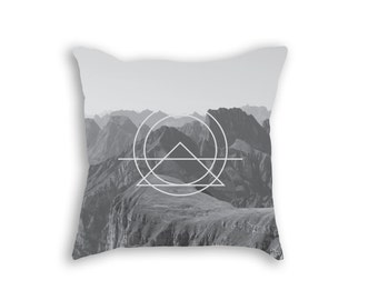 Gray Sacred Geomerty Mountain Throw Pillow, Urban Decor, Hipster Pillow, Hipster Decor, Modern Decor, Abstract Pillow, Minimalist Decor