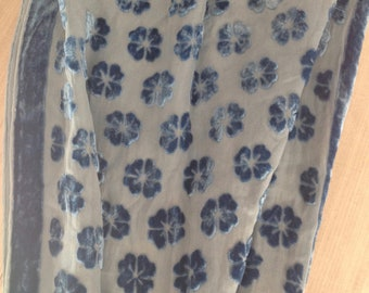 Velvet silk and crepe transparent, blue, flowers scarf