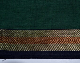 Handloom cotton fabric in Dark green - One yard Yard  VMC 14