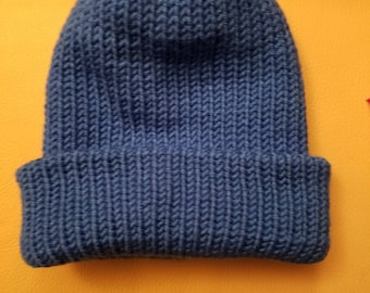 Handmade Double Knitted Hat in Blue
