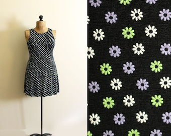 vintage dress 90s rave daisy atomic print black mini party 1990s womens clothing size s m small medium