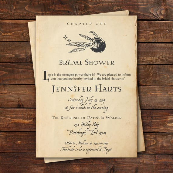 Harry Potter Bridal Shower Invitation Harry Potter Baby