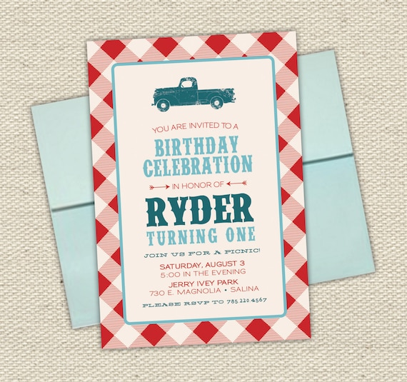 Picnic birthday invitations image collections baby shower vintage truck boys birthday invitation picnic checker filmwisefo