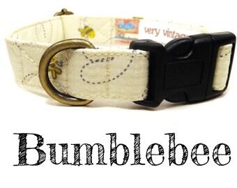 "Light Yellow Gray Buzzing Bees Bumblebee Dog Collar - Girl Dog Collar - Organic Cotton - Antique Metal Hardware - ""Bumblebee"""