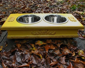 Medium Size Elevated Pet Feeder, Dog Dish,  Distressed Cottage Chic, Marigold Yellow, 2 One Quart Stainless Bowls Made to Order