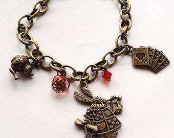 Alice In Wonderland, Charm Bracelet, Whimsical Rabbit, Personalised Bracelet, Bracelet For Woman