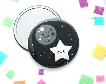Moon and Star Pocket Mirror, 76mm Mirror, Kawaii Gift, Purse Mirror, Cute Space Gift