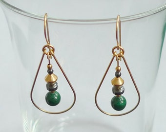 Malachite Gold-Filled Teardrop Earring