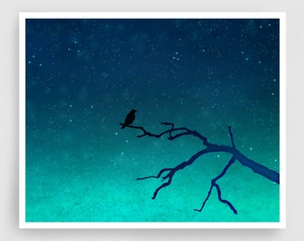 And then... only the silence remains - Love illustration Art Print Home decor Nature print Turquoise Blue Night sky Dreamy bird Silence