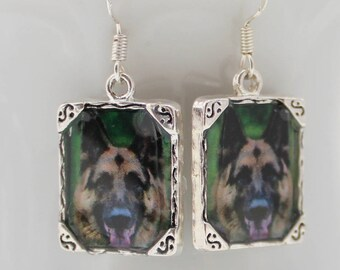 Black Brown German Shepard Dog Puppy Picture Earrings 3D Dimensional Pet Silver