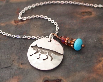 Wolf Necklace, Rustic Jewelry, Wolf Charm Necklace, Totem Necklace, Wolf Pendant, Wolf Lover Gift, Wolf Necklace, Mama Wolf Necklace
