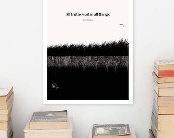 WALT WHITMAN Large Art Poster, Quote Literary Art Prints, Minimalist Illustration, Large Wall Art Quote Prints, Book Lover Gift for Him