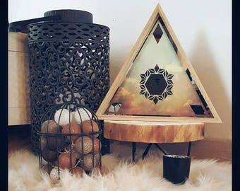 geometric mirror wood frame