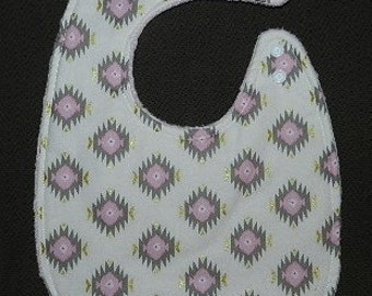 Reversible Baby Bib Glitz Diamond White/Pink / Gold with Pink Minky,  Baby, Drool, Feeding ONLY ONE AVAILABLE