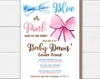 Gender Reveal Party Invitation, Blue or Pink Bow Watercolor Gender Reveal Invite, Boy or Girl Printable Invitation