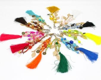 Colorful Pom Pom Tassels for Bag, Tassel for handbags, Beach Bag Accessory,Pom Pom Key chain, Tassel Key chain, tassel charm for bags