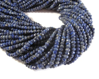 Natural Lapis Beads, Faceted Lapis Lazuli Rondelles, 3mm - 4mm, 13.5 Inch Strand, Gemstone Rondelles, Jewelry Supplies (R-Lap1)
