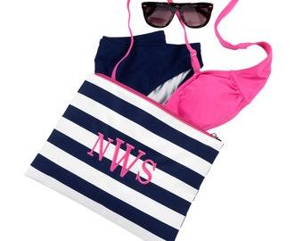 Monogrammed pouch, monogram accessory bag, monogram cosmetic bag, Prep Stripe Zip Pouch, bridesmaids gift