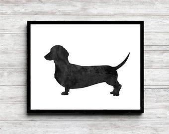 Watercolor Dachshund Dog Silhouette Art - Sausage Dog Wall Art - Pet Poster - Dachshund Gift - Black Dog Print - 11 x 14 - 8 x 10 - 5 x 7