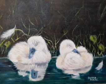 swan, cygnet, bird, oil painting, handmade