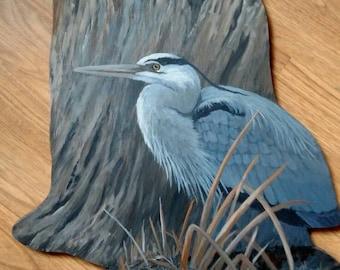 Great Blue Heron, wood cutout, wallhanger, heron painting, blue heron art, great blue heron. Don Reardon