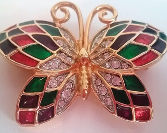 Vintage Butterfly Pin Gold Tone Rhinestones and Bright Colored Enameled Wings 1980s