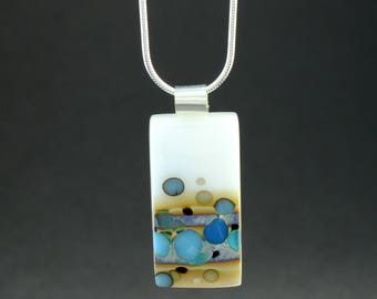 Turquoise and White Fused Glass Necklace