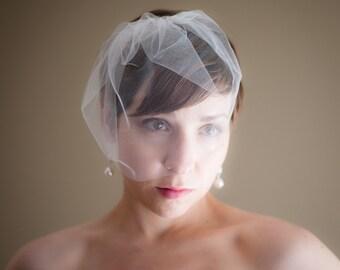 Small Tulle Birdcage Wedding Veil (Blusher Veil, Mini Veil, Bridal Veil, Bridal Illusion Tulle, Bird Cage Veil, Retro Veil)