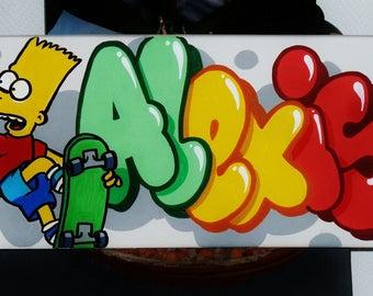 painting theme simpson custom graffiti name canvas