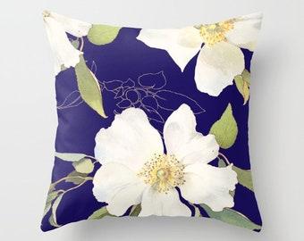 Blue Floral Pillow, Floral Pillow,  Blue and White Flowers Pillow, Flower Throw Pillow, Decorative Pillow, Modern Floral Blue Pillow