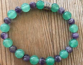Jade and amethyst bracelet