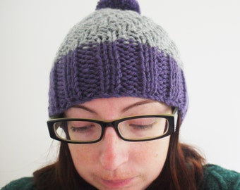 SALE Purple/grey/gray knitted slouchy style winter bobble hat with pom pom.