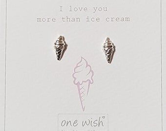 I Love You More Than Ice Cream Stud Earrings