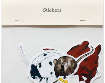 Sticker Set by Fiona Hamilton - Featuring 4 x Birds, Insects, Rodents - Metallic & Matte Foils, Bee, Ladybird, Mice