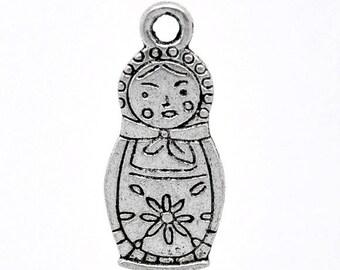 PB180 - Set of 5 matryoshka Russian doll silver-plated 29x12mm charms