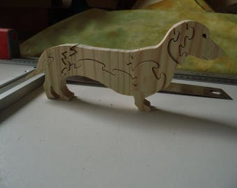 DOG 2 RAW WOODEN ANIMAL PUZZLE: TEACHING AND DEVORATIF