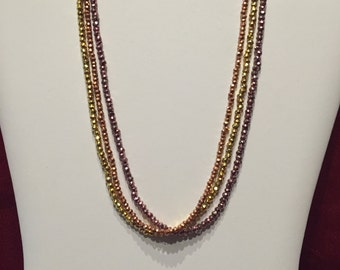 Rainbow Faceted Pyrite Triple Strand