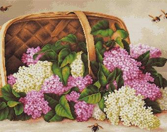 Basket of lilacs SB501 - Cross Stitch Kit by Luca-s