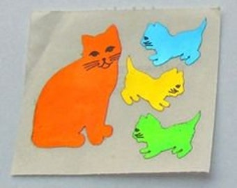 Cat and Kittens Hambly Mylar Vintage Sticker Mod - 80's Foil Reflective Kitty Collectible