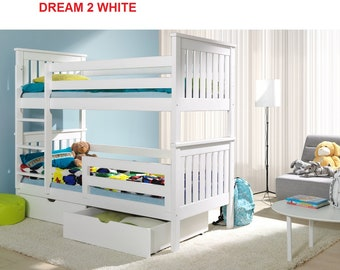 2 sleeper wooden white bunk beds childrens solid pine  bed with foam mattresses