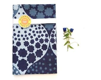 Vintage 70s Fabric Remnant - MOD Flowers Blue
