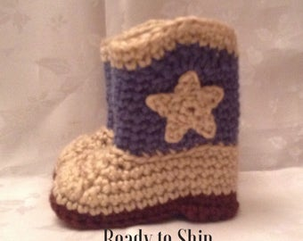 Ready to Ship  Blue and Tan Crochet Baby Cowboy Boots Cowboy Booties 3 to 6 month