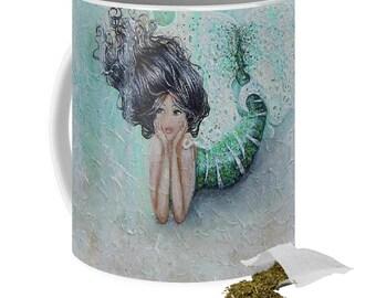 Cute art mermaid art mug, little mermaid coffee mug,green artistic unique mermaid cup, original painting by Nancy Quiaoit