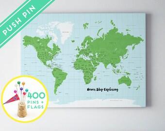 Etsy el lugar para comprar y vender todo lo que est hecho a mano personalized world map canvas with foam board 240 pins countries capitals usa and gumiabroncs Image collections