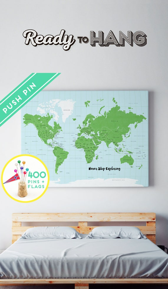 Personalized world map canvas with foam board 240 pins like this item gumiabroncs Choice Image