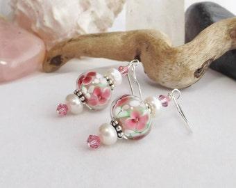 Pink Flower Lampwork Glass Beaded Earrings, Pearl Drop Earrings, Handmade Swarovski Crystal Earrings, Mother's Day, Gift for Her, Wedding