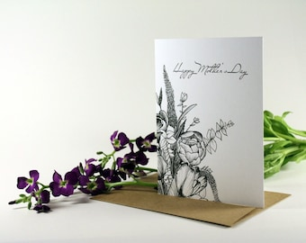 Mothers Day Card floral, Greeting card, Happy Mothers Day