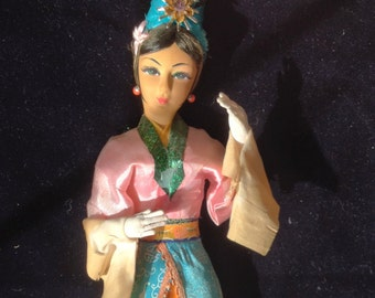 Figurine - Chinese Figurine - Collectible Doll - Silk Dress - Vintage Figurine - Vintage Asian Doll - Pretty Asian Doll - Asian Figurine