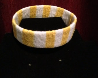 Upcycle Yellow & White Cuff Bracelet
